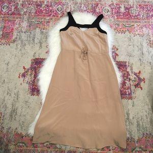 Madison Marcus Black & Tan Strappy Silk Dress